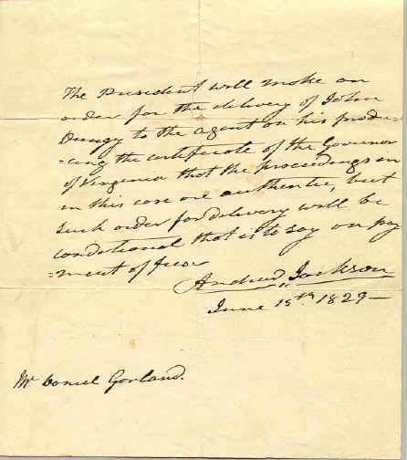Andrew Jackson as President autograph letter signed © Stan Klos Collection