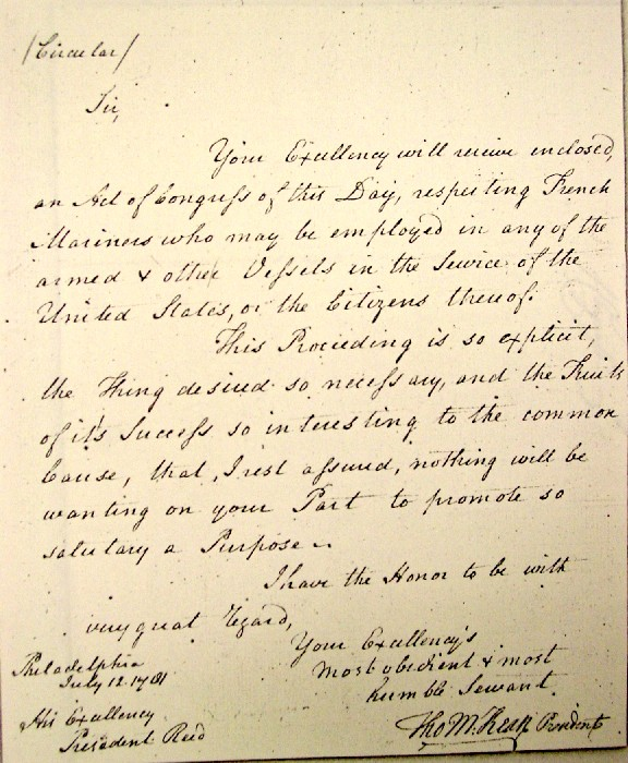 Thomas McKean Letter as President of the United States