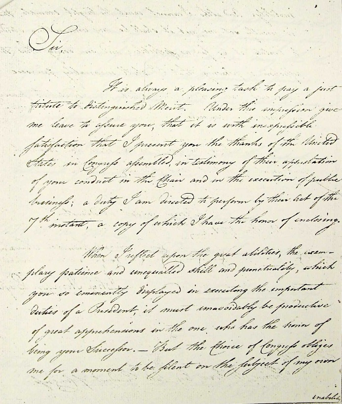 President John Hanson Letter of Thanks to Thomas McKean for serving as President of the United States