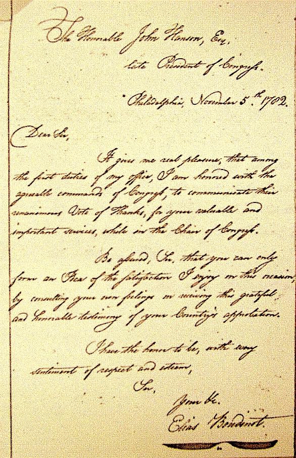 Elias Boudinot Letter