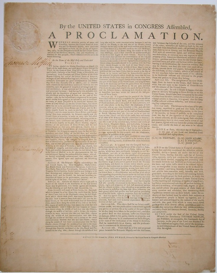 President Thomas Mifflin's Ratification of the Treaty of Paris January 1784