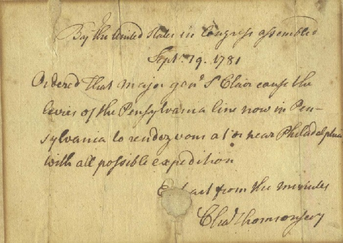 Revolutionary War Order Arthur St. Clair Signed Charles Thomson Stan Klos Collection