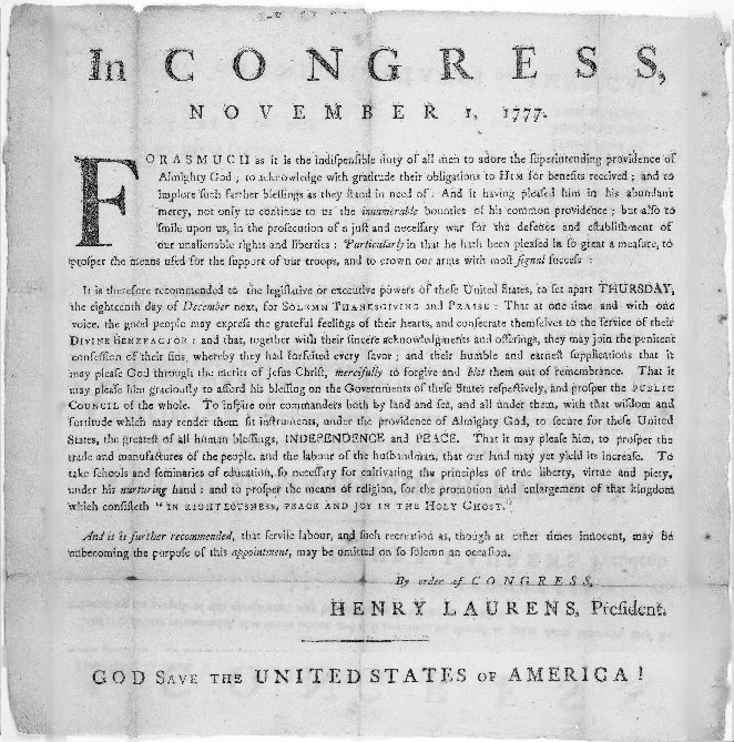 Henry Laurens Thanksgiving Proclamation