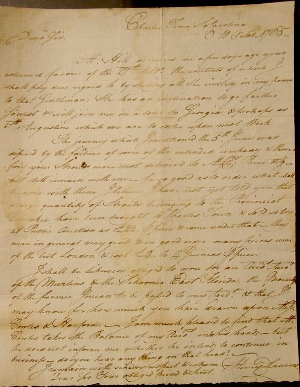 Henry Laurens Letter