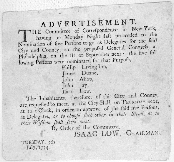 John Jay's Nomination to the 1st Continental Congress