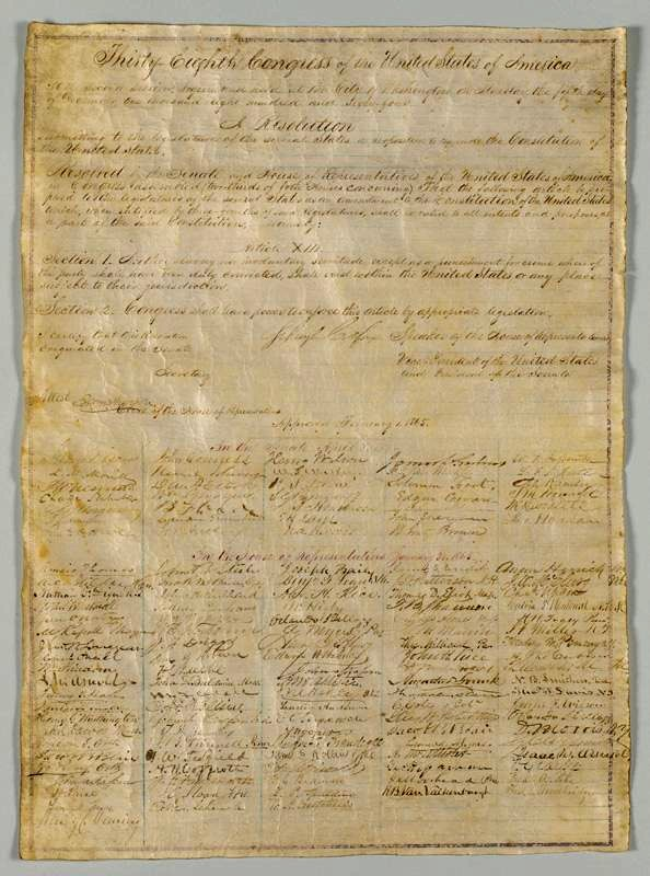13th Amendment signed by Congress and President Lincoln - Courtesy of