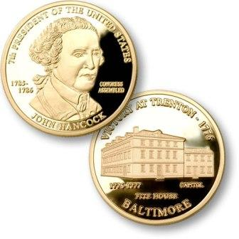 President John Hancock Proposed $1.00 Presidential Coin with US Capitol Henry Fite House