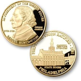 President Samuel Huntington Proposed Presidential $1.00 Coin with  Independence Hall Medallion