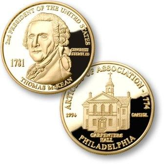 President Thomas McKean Proposed Presidential $1.00 Coin with  Carpenters Hall Medallion
