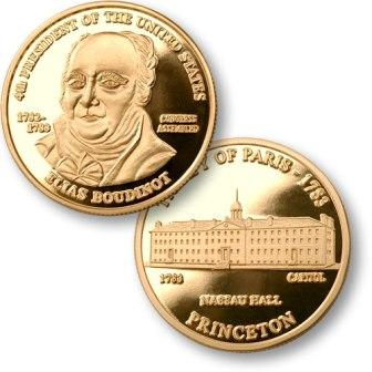 President Elias Boudinot Proposed Presidential $1.00 Coin with U.S. Capitol Nassau Hall