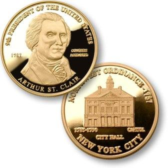 President Arthur St. Clair Proposed Presidential $1.00 Coin with US Capitol New York City Hall