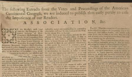 Articles of Association, October 20, 1774