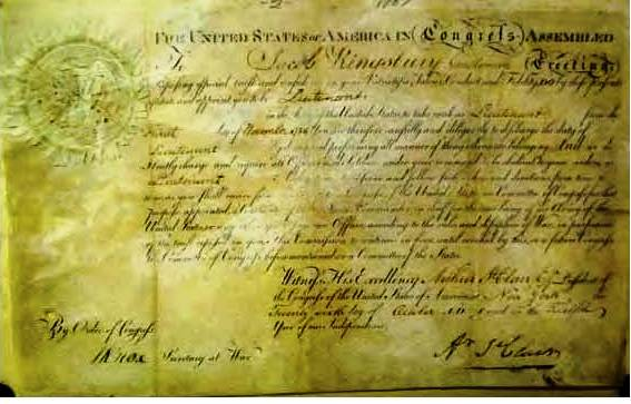 President Arthur St. Clair signed U.S. Military Commission October 26, 1787
