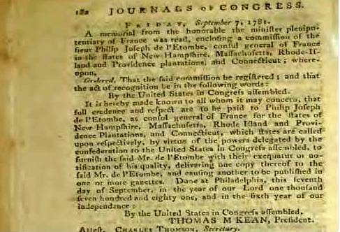 President Thomas McKean signs  Joseph de L' Etombe Consul General of France U.S. Commission  Journals of the United States in Congress Assembled [xvi] – Stan Klos Collection