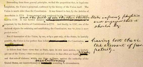 "Above is an excerpt from Lincoln's Address with changes in his hand summarizing the birth, formation and the establishment of a ""more perfect"" Constitution of the Perpetual"