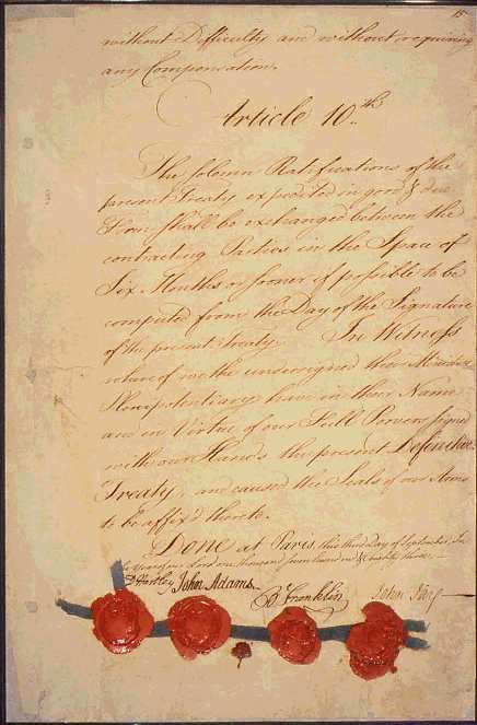 1783 Treaty of Paris - John Adams, John Jay and Benjamin Franklin
